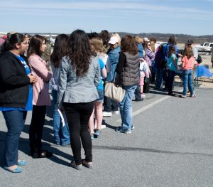 Lines at Women Of Aviation Week official activity
