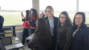 Girls and women visit control towers