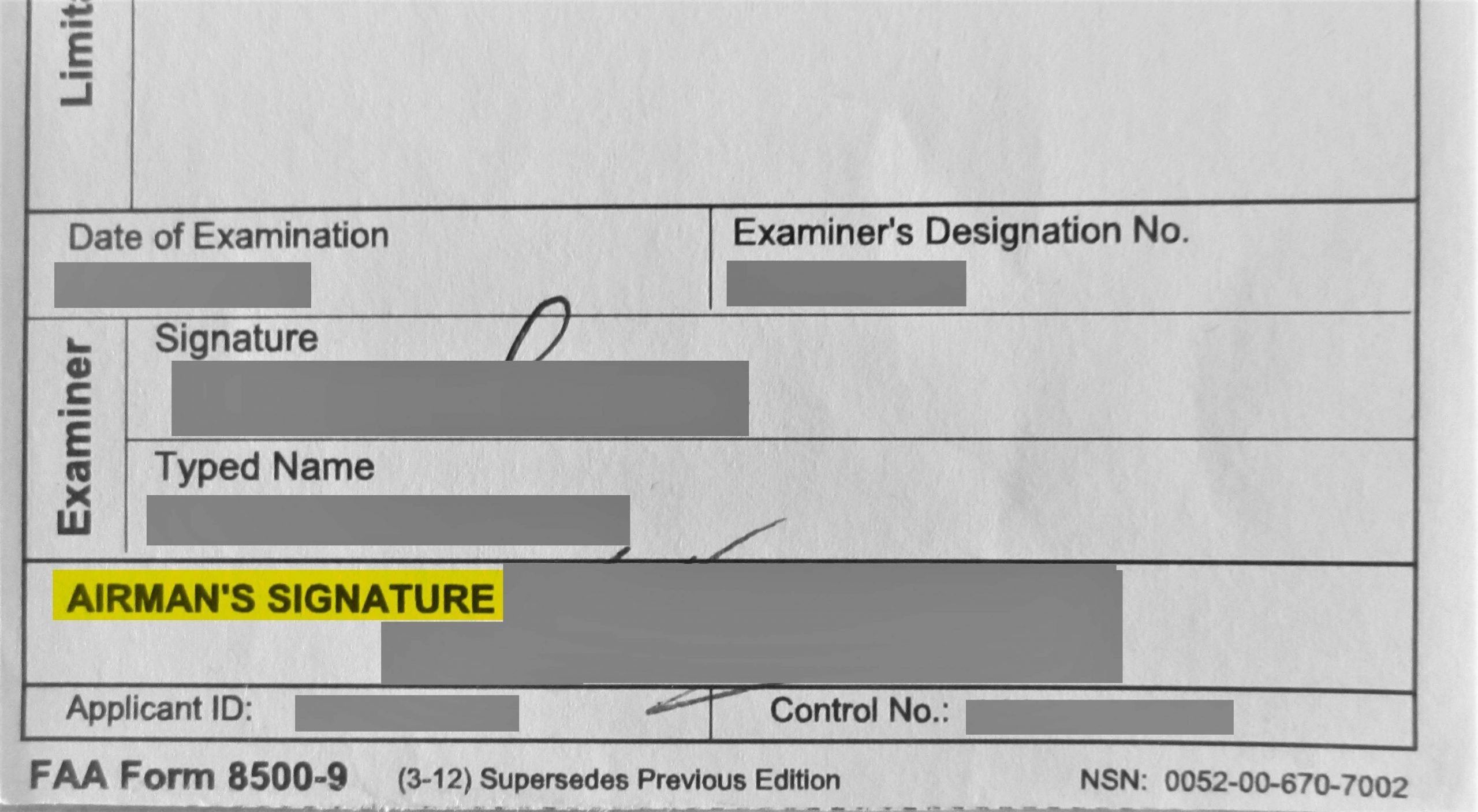 FAA medical certificate airman signature